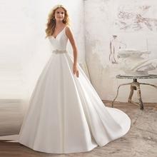 Buy Satin Wedding Dresses China Line Wedding Gowns Weding Bridal Bride Dresses Weddingdress robe de mariage vestido de noiva for $174.45 in AliExpress store
