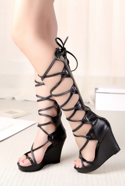 Buy 2015 New Deluxe BrandSummer Women Knee High Gladiator Heels