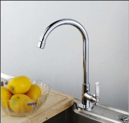 New Deck Mounted Chrome Brass Kitchen Faucet Single Handle
