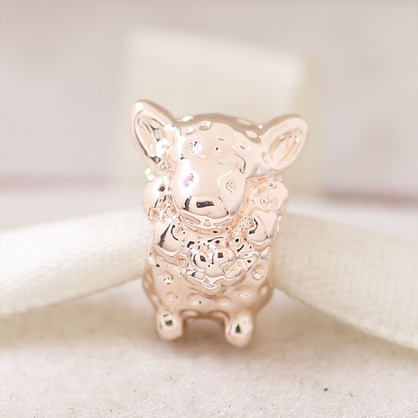 free shipping 1pc rose gold color sheep bead charm Fits European Pandora Charm Bracelets & Necklaces A006(China (Mainland))