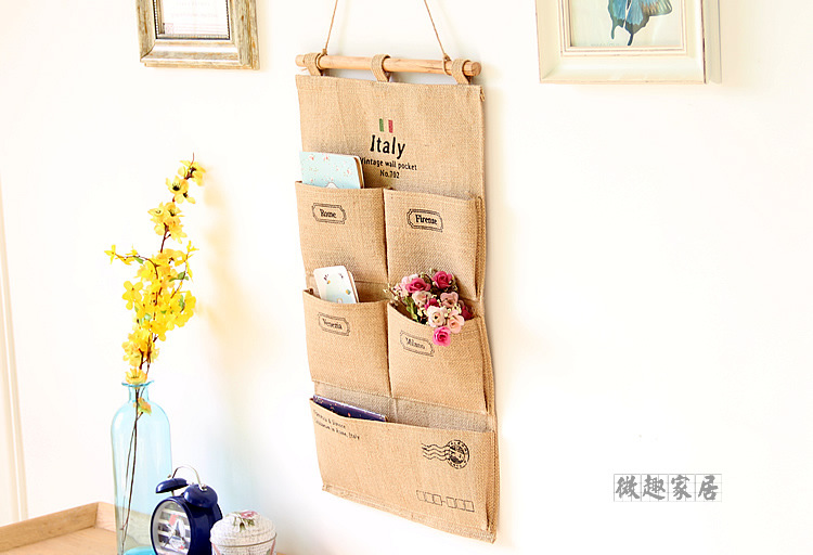 2016 zakka Italy Jute Style Behind Doors Sundries Organizer Wall Hanging Storage Bag Multi-layer Fabric Debris Bags New(China (Mainland))