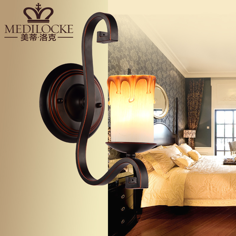 Decorative Flaming Candle Wall Sconce Vintage Brown WroughtCreative candle lights  Iron Glass Hallway Corridor Wall Lamp <br><br>Aliexpress