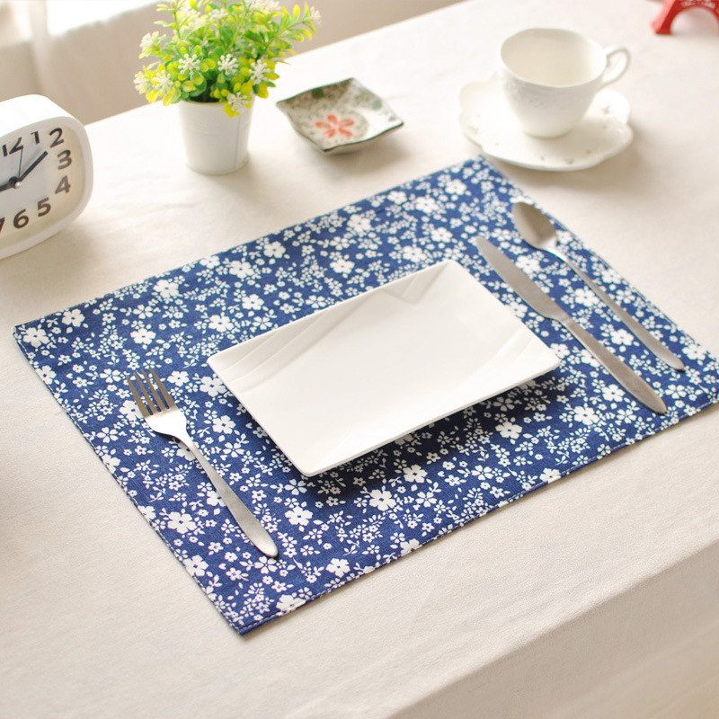 Coaster Hot Sale Cotton Tea Napkin Home Decorative Kitchen Table Placemats Printed Rectangle Pads Dinner Mats For Wedding Party(China (Mainland))