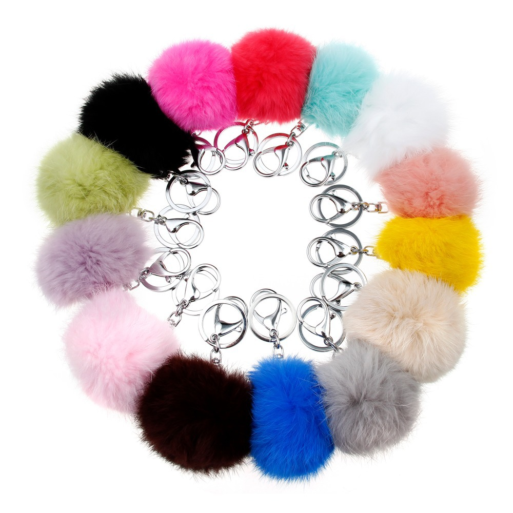 14Colors 8CM Genuine Rabbit Fur Ball Car Keychain 2015 New Year Gift Silver Plated Key Chain Women Gifts Couples Keychain Men(China (Mainland))