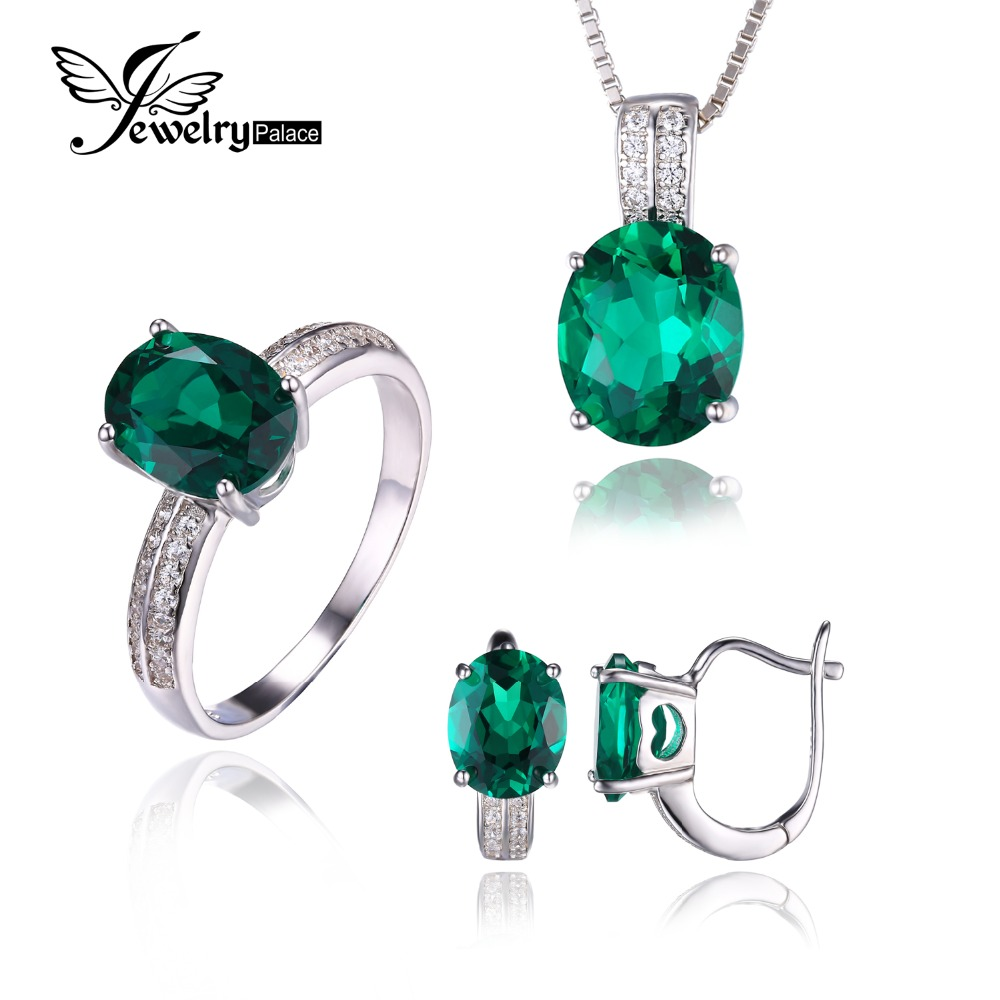 Oval Cut Green Nano Russian Emerald Jewelry Set Queen Stone Earring Ring Pendant Necklace 925 Sterling Sliver Fine Jewelry Brand(China (Mainland))