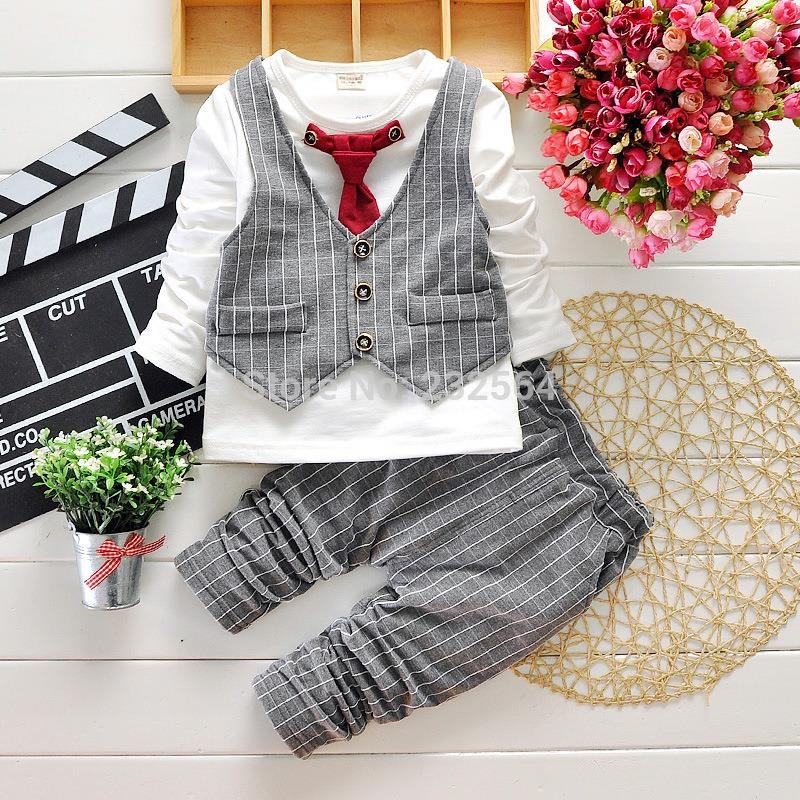 New 2015 Spring Fashion Baby Boy Clothes Gentleman Suit Long Sleeve Stitching plaid vest and tie T-shirt + Pants Clothing Set(China (Mainland))