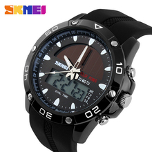 Skmei 50M Waterproof Solar Watches Outdoor Military Sports Watches LED Digital Quartz Watch Dual Time Men Watch Travel Kits &(China (Mainland))