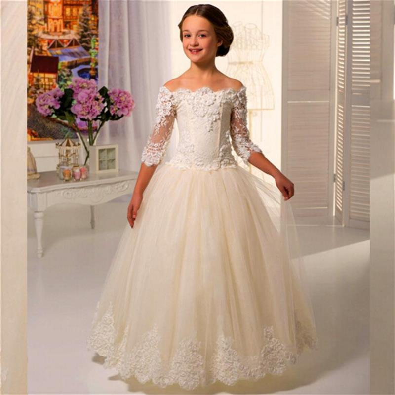 New 2016 Half Sleeve Lace Flower Girls Dresses For