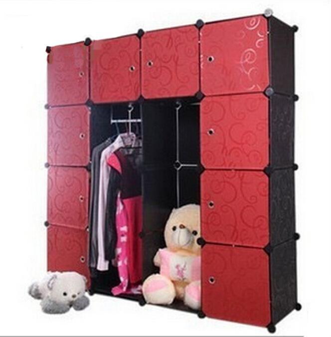YoHere living home furniture 16 lattice wardrobe folding wardrobe magic trumpet single lockers wardrobe combination wardrobe(China (Mainland))