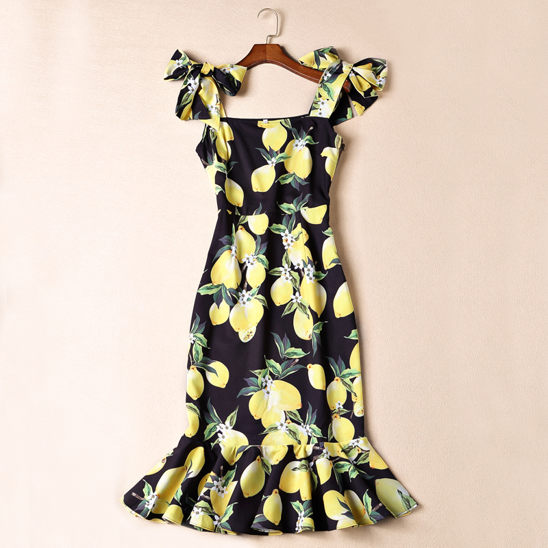 2016  Summer Europe and America  Boutique Dress Women's High Quality Fresh Yellow Lemon Printed Bow Shoulder Strap Mermaid Dress