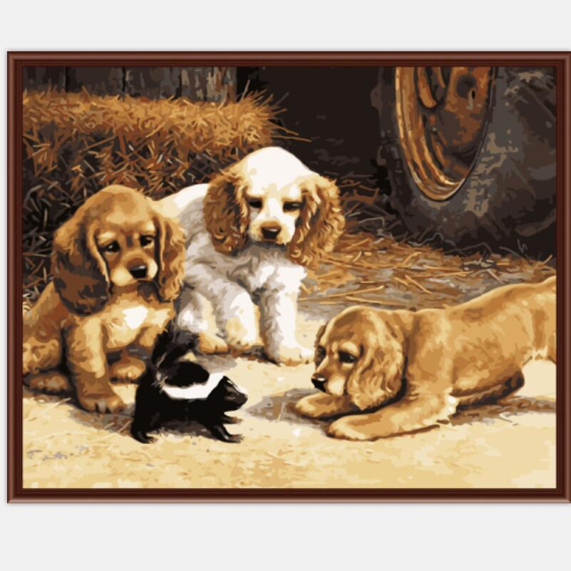 Happy Dogs DIY Acrylic Painting By Numbers Hand Painted Canvas Modern Wall Picture For Living Room Home Decor Wall Art H108(China (Mainland))