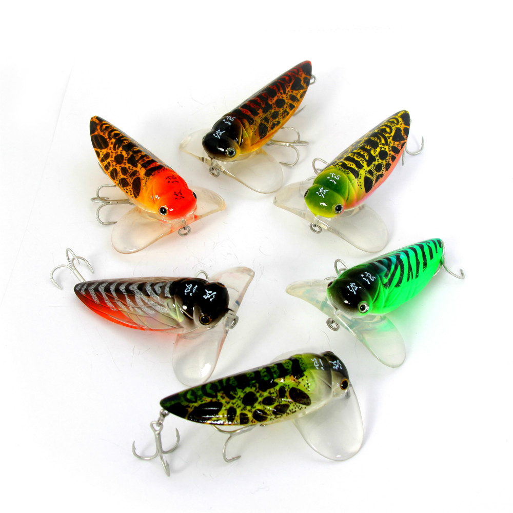 Grilled couples lure fishing tackle insect cicada wave hit for Tilapia fake fish