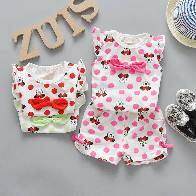 Summer Cartoon Minnie Baby Girls Clothes Set Short-sleeved Dot T-shirts + Shorts Toddler Girls Clothing Set Infant Girls Suit(China (Mainland))