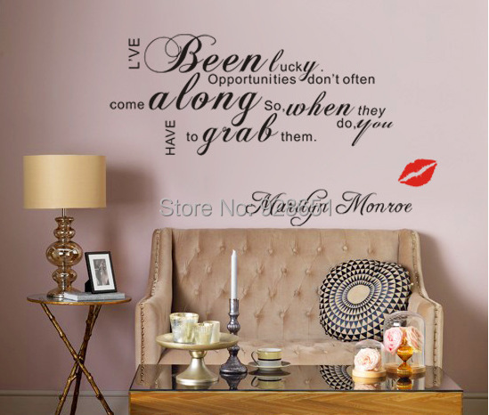Marilyn Monroe Lip I 39 Ve Been Lucky Vinyl Wall Art Decals