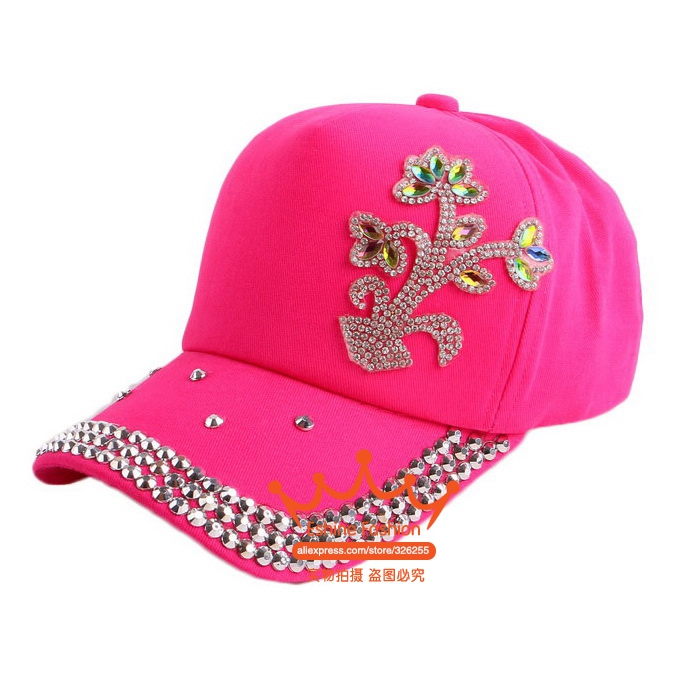 promotion Crystal Kids Baseball Caps Baby Hats & Caps Flower Children Snapback Summer Cotton Cap Baby Boys Girls Peaked Sun cap(China (Mainland))