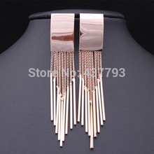 Wholesale New Jewelry 18 K Real Gold Plated Brand Chain Tassel Rectangle Dangle Earrings E098(China (Mainland))