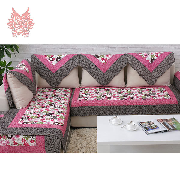 European style red floral print sofa cover 100 cotton for Canape sofa cover