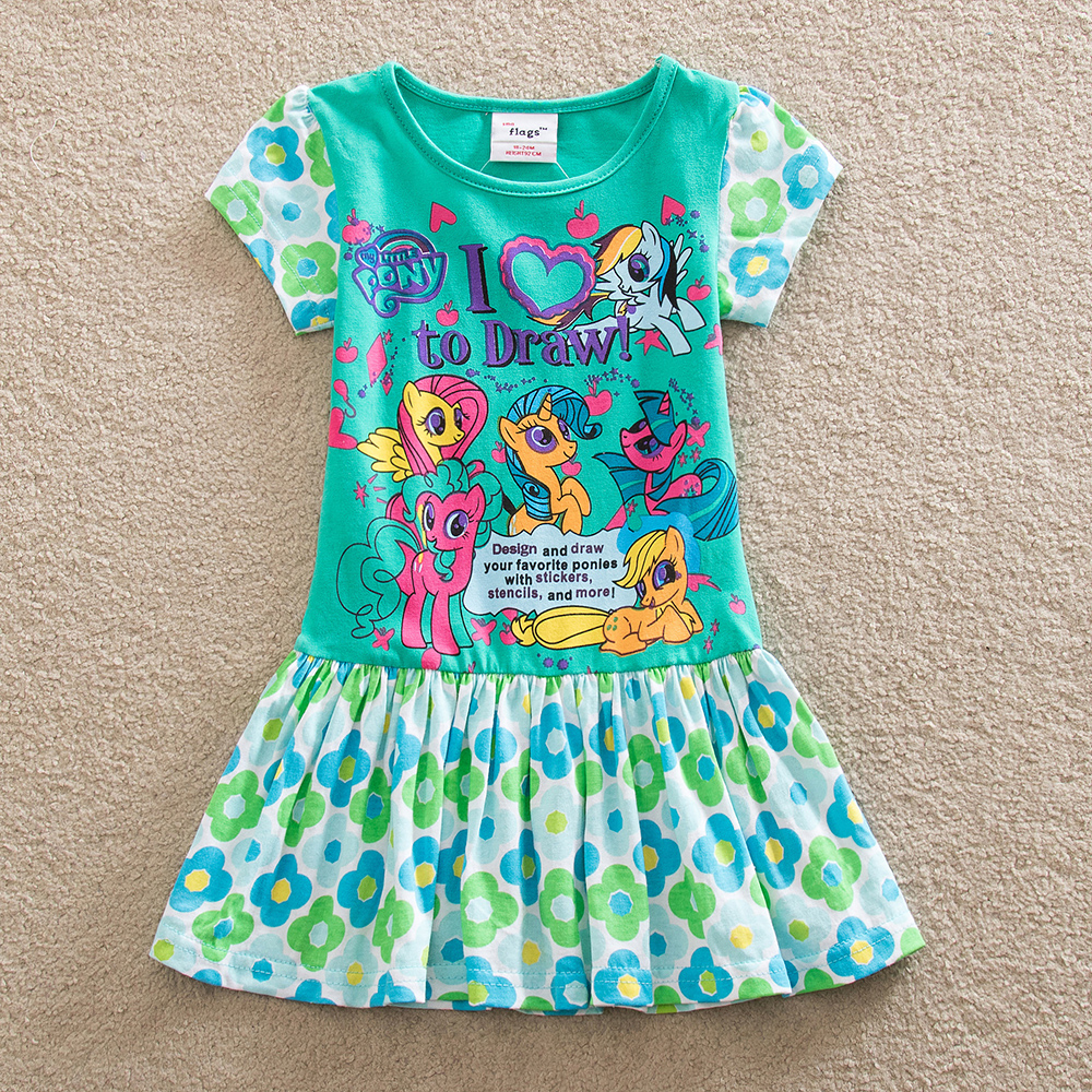 Retail Baby girl dress my little pony summer cotton child dress girl wear kid clothes children dress baby girl clothes Q9115(China (Mainland))