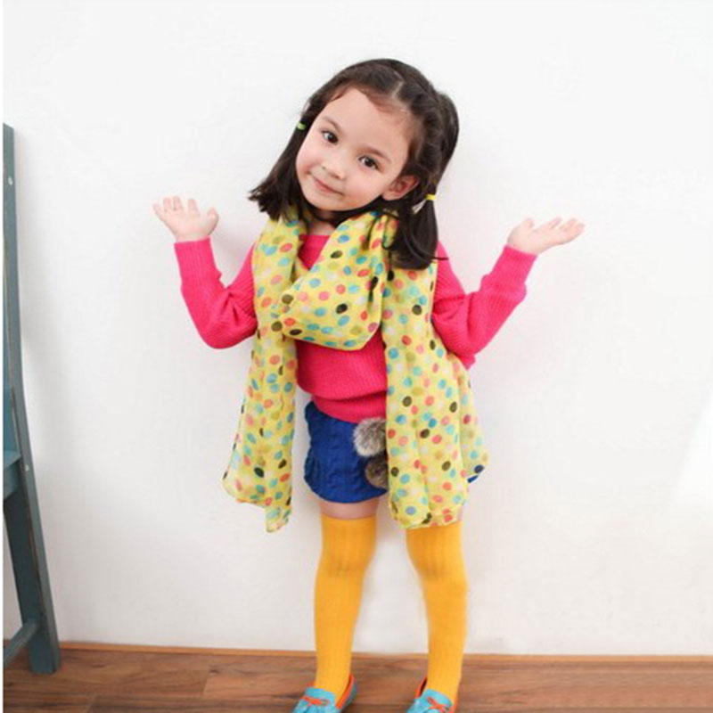 Toddlers Kids Baby Girls Scarf Shawls Wrap Candy Color Voile Dots Scarves Hot Sell(China (Mainland))