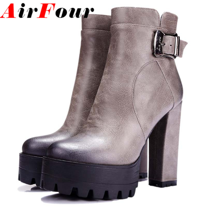 women boots punk Buckle Round Toe High boots Square heel Ankle boots for women  platform Martin boots BIG SIZE 34-42