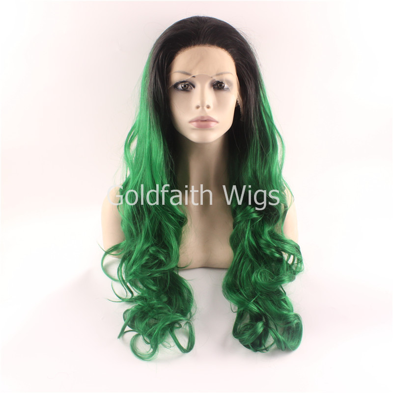 Fashion Ombre Dark Root Black Green Wavy Extra Long Synthetic Lace Front Wig Natural Black/Green Heat Resistant Hair Women Wigs<br><br>Aliexpress
