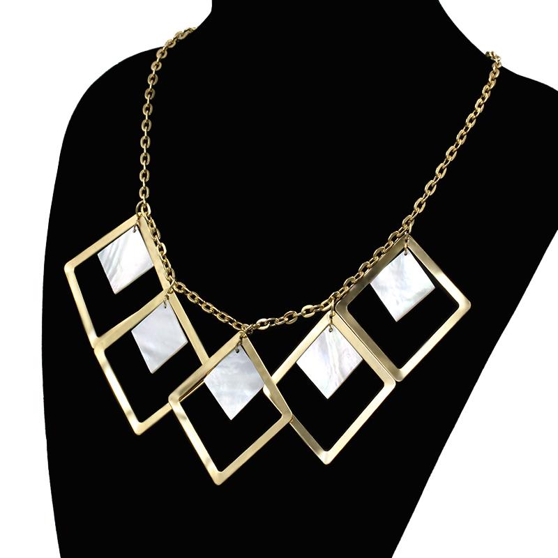 Big Statement Square Pendant Necklace Women, Hyperbole Shell 18K Gold Plated Necklace Women Fashion Statement 2016 Jewelry(China (Mainland))