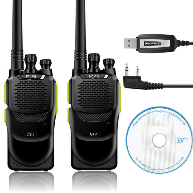 2 Pcs Baofeng/Pofung GT-1 UHF 70cm 400-470MHz 5W 16CH FM Two-way Ham Hand-held Radio Walkie Talkie + Programming Cable(China (Mainland))