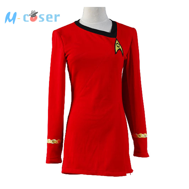 Star Trek Duty Uniform TOS Red Dress Party Halloween Cosplay Costumes Women Badge - M-Coser store