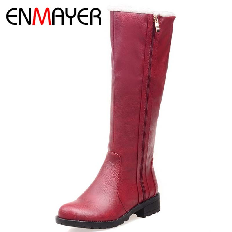 ENMAYER Size 34-39  Advanced PU  Soft Leather  Mid-Calf  Round Toe Zip  Boots For Women Black Yellow red Gray New Fashion Boots<br><br>Aliexpress