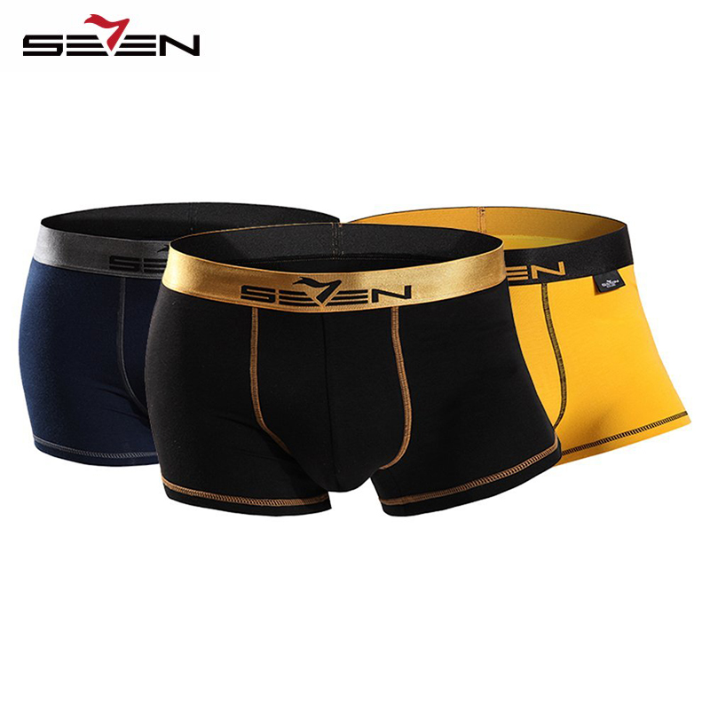 Seven7 Brand High Elastic Casual Men Underwear Boxers Sexy Comfortable 3 PcsPack Colorful Boxers Men Shorts Pants 110F08060