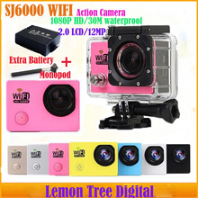 Two Batteries + Monopod SJ6000 WiFi Action Camera 1080P Full HD Diving 30M Waterproof Sport DV Gopro Style Camera