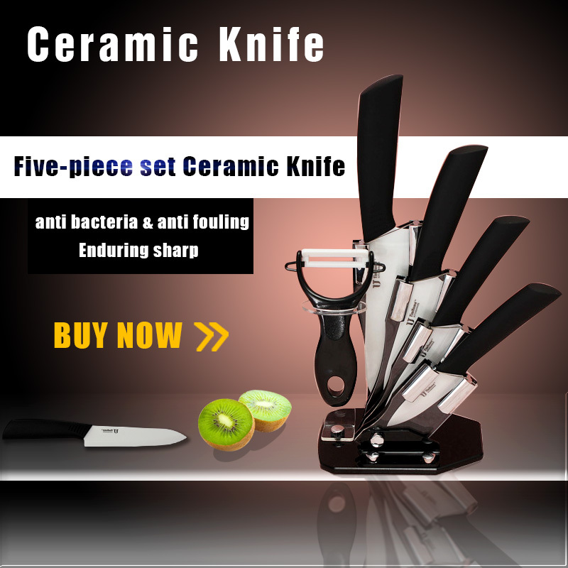 High Quality Kitchen Dining Bar 3 4 5 6 inch Ceramic Knife + Peeler With Covers Paring Fruit Utility Chef Ceramic Knife Sets(China (Mainland))