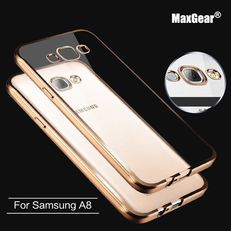 Rose gold Ultra Thin Clear Crystal Rubber Plating Electroplating TPU Soft Mobile Phone Case For Samsung Galaxy A8 Cover bag(China (Mainland))