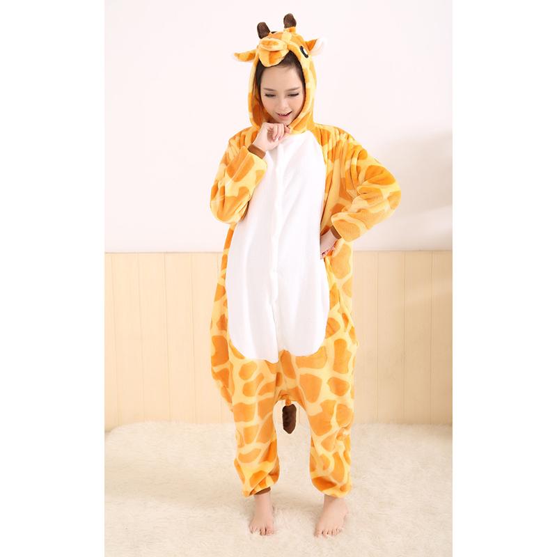 Все в один фланель аниме Pijama комикс косплей тёплый капот Loungewear взрослые легко для ванная милый животное пижамы жираф