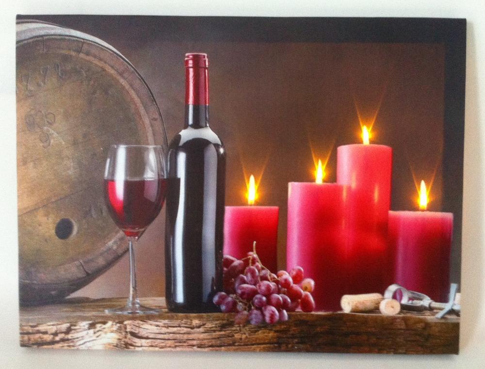 4 led lghts wine wall art with led canvas print decoracao - Led para casa ...