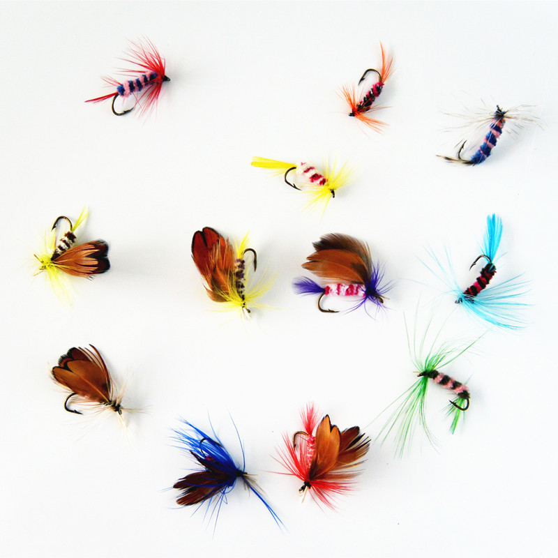 12 pcs/set Various Dry Fly Hooks Fishing Trout Salmon Dry Flies Fish Hook Lures