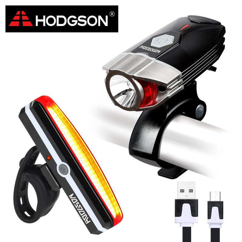 HODGSON USB Rechargeable LED Bike Light Waterproof Front Light Tail Light Set Bicycle Headlight Taillight Rear Lamp Set 8102(China (Mainland))