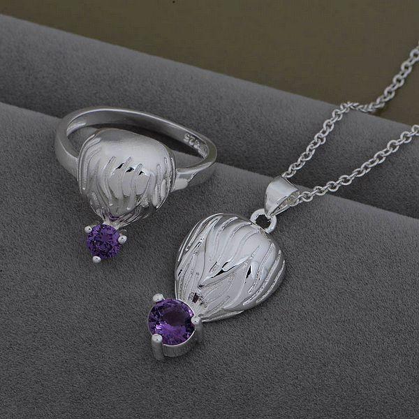 AS531 925 sterling silver Jewelry Sets Ring 599 + Necklace 926 /ekpanbwa bxfakoma(China (Mainland))