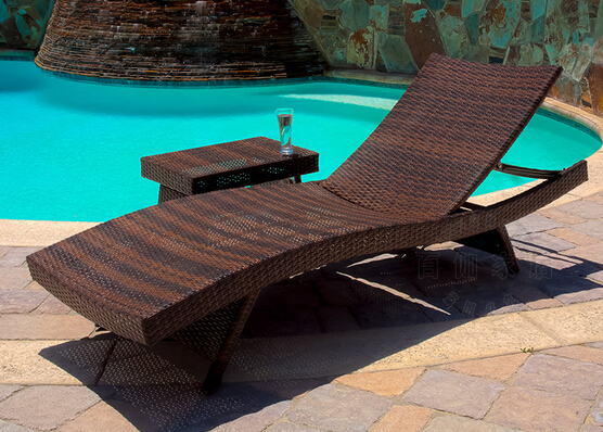 American outdoor beach chair / swimming pool / folding chair cane chair / luxury lying bed / outdoor rattan chair(China (Mainland))