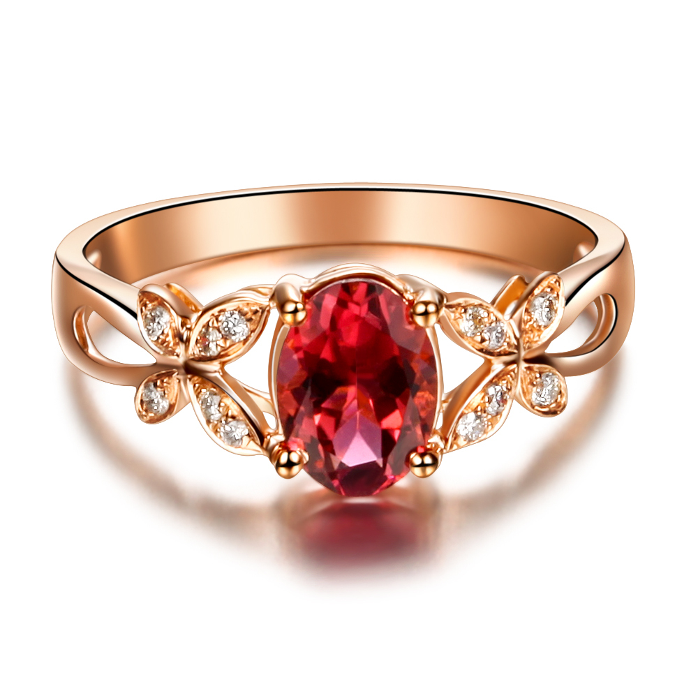 Butterfly Ring Vvs Red Tourmaline Ring Gemstone Engagement