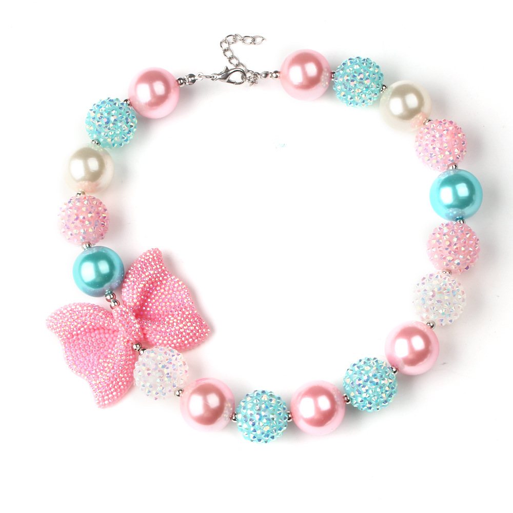 Cute Bow Candy Beaded Bubblegum Necklace Kids Birthday Gift Rhinestone Bowknot Girls Chunky Toddler