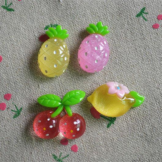 50pcs/lot flat back resin Lemon/cherry/pineapple 25*25mm mixed cabochon crafts home decoration christmas ornament(China (Mainland))