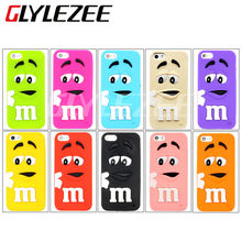 M&M M Bean Soft silicone Fragrance Chocolate colorful Rainbow Cartoon Cellphone Cover Case for iPhone4 4S 5 5S 5C 6 6S Plus