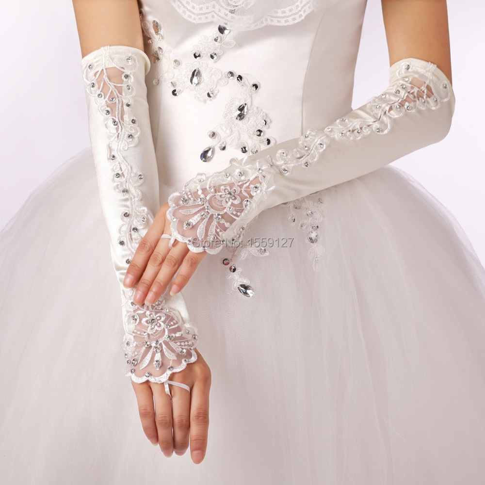 Long Elbow Satin with Lace Beads Fingerless Bridal Gloves 2016 Cheap Wedding Gloves Free Shipping Wedding