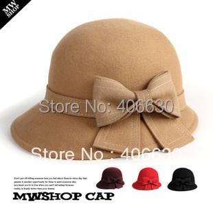 winter wool bucket hats for women chapeu feminino cloche hat felt dress ladies church hats free shipping IV-030(China (Mainland))