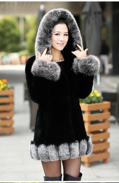 2015 New Fashion Import Women's Genuine Long Black Rex Rabbit Fur Coat/Clothing With Big Fox Fur Collar Hooded,High Quality