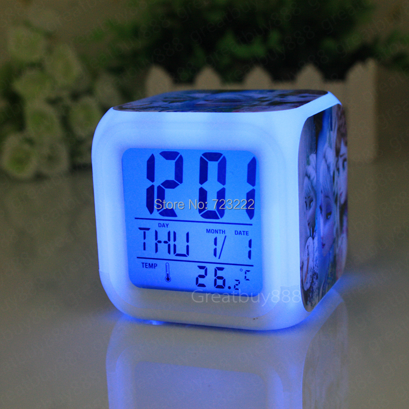 Retail New LED 7 Colors Change Digital Alarm Clock cartoon Night Colorful Glowing Toys ASZD53 - GreatBuy8888 store