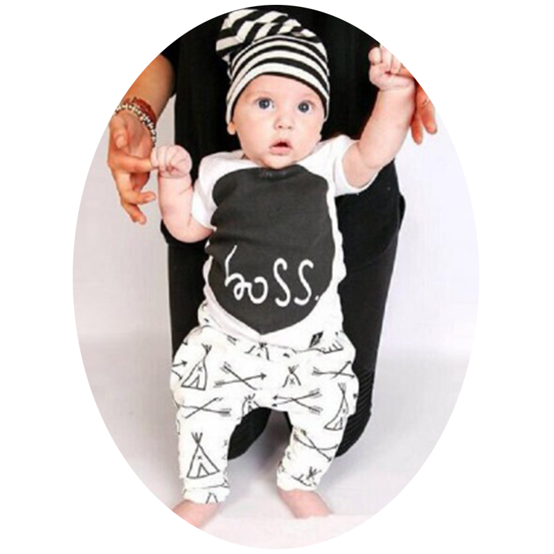 2016 New summer baby boy  and girl  clothes set cotton Fashion letters printed T-shirt+ long pants 2pcs<br><br>Aliexpress