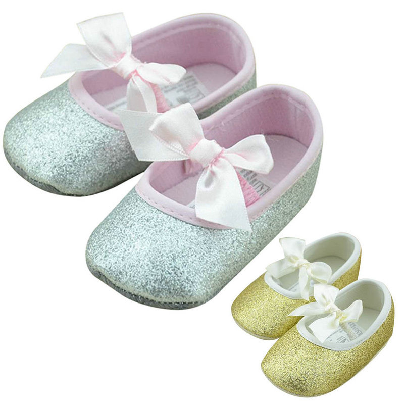 2015 Summer Toddler Baby Girls Shine Antislip Bowknot Soft Sole Ribbon Crib Shoes Prewalker Baby Shoes