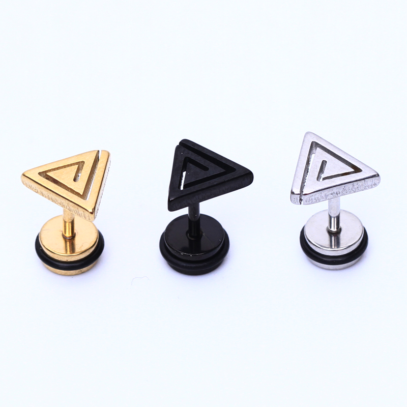 2pcs Triangle Stainless Steel Studs Mens boy girl punk maze labyrinth Gold rock Earrings Cosplay Stud Earring